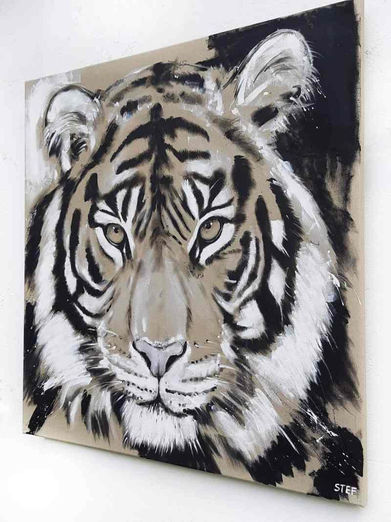 Wandbild Tiger, Kunst, Original Malerei von Stefanie Rogge