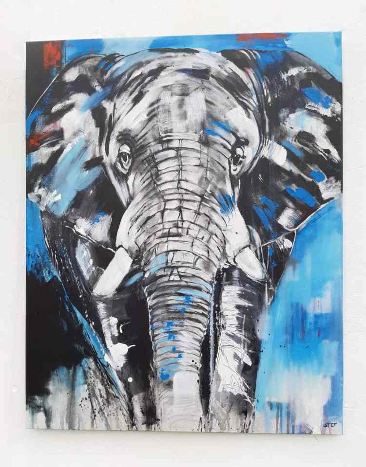 Gemälde eines Elefantenkopfes, Unikat Elefant, Kunst von Stefanie Rogge