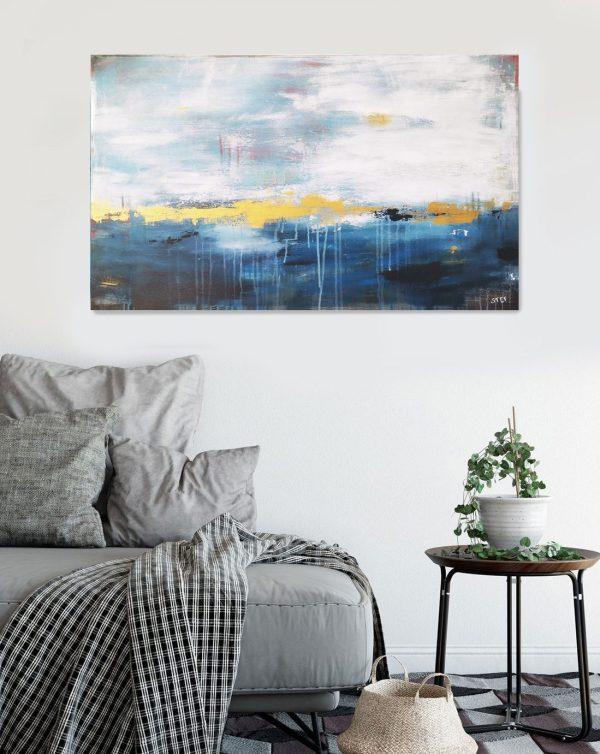 Bild abstrakt in Blau und Gold von Stefanie Rogge