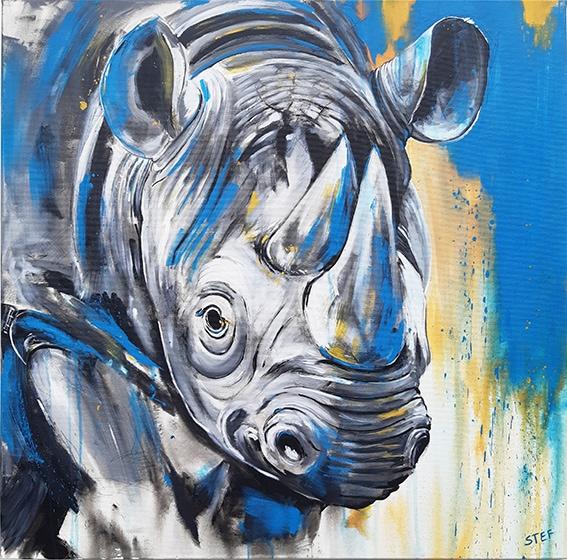 Gemälde Nashorn von Stefanie Rogge