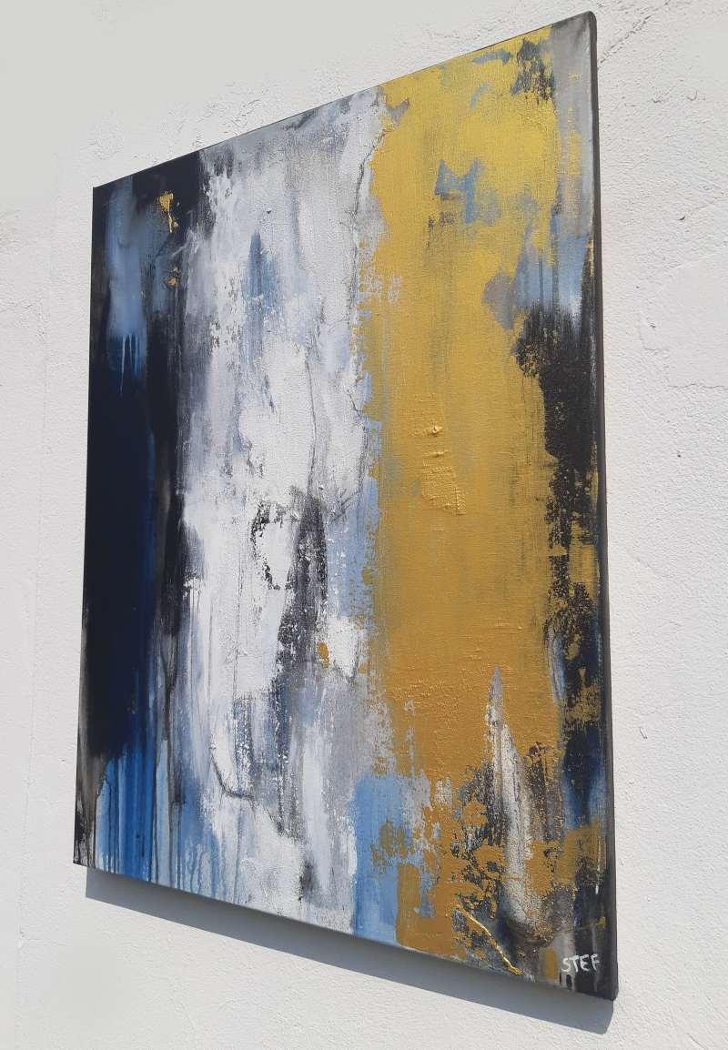 abstraktes Gemälde in Gold von Stefanie Rogge