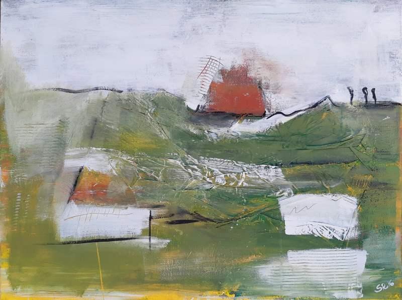 abstraktes grünes Leinwandbild