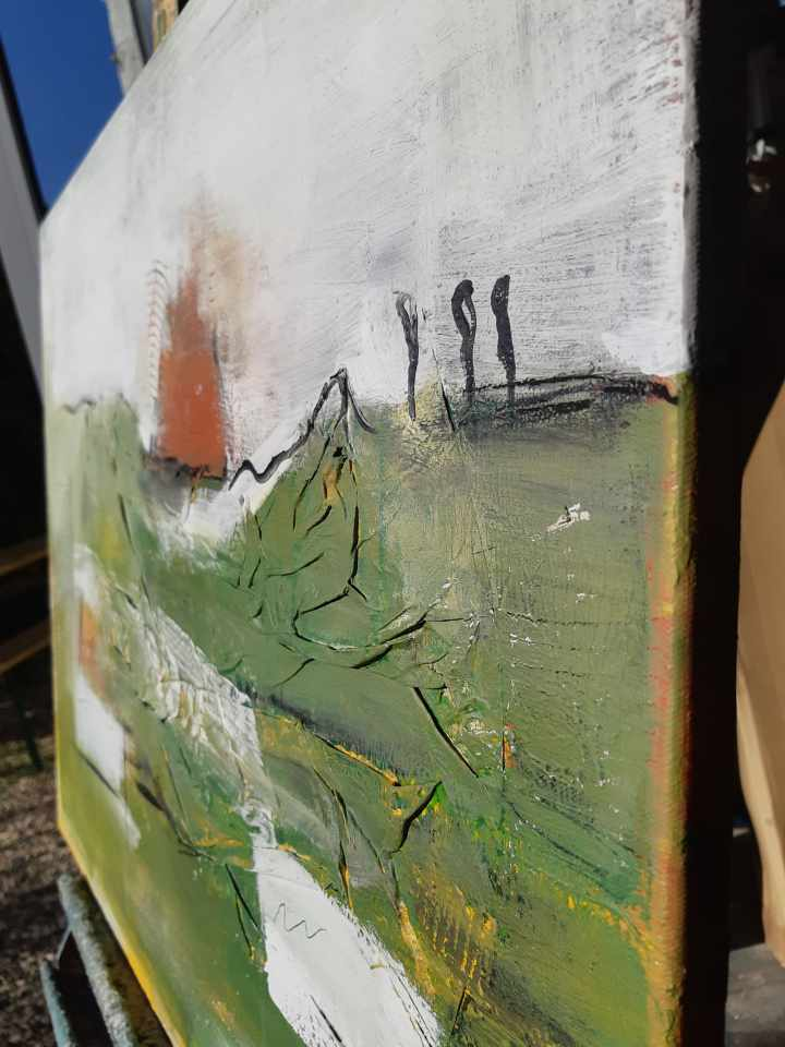 abstraktes grünes Acrylbild
