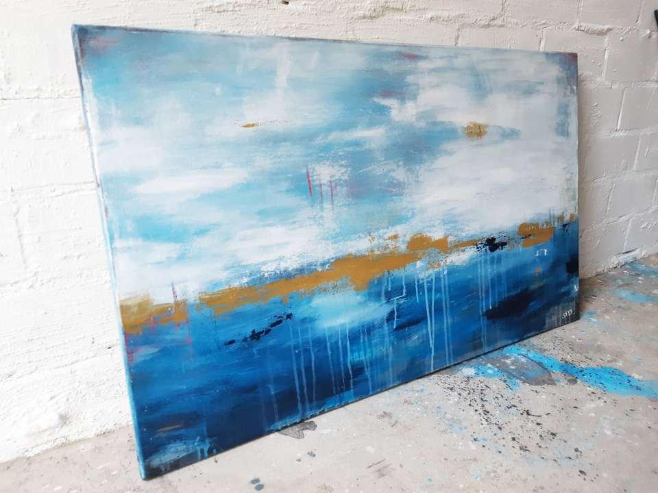 abstraktes Bild Blau Gold