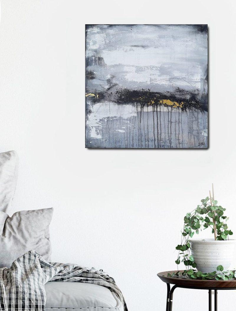 """abstraktes monochromes Gemälde """"Wege und Spuren 5"""""""