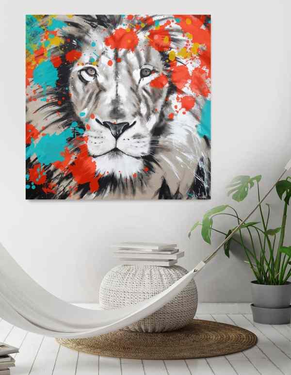 Löwe auf Leinwand bunt, Kunst