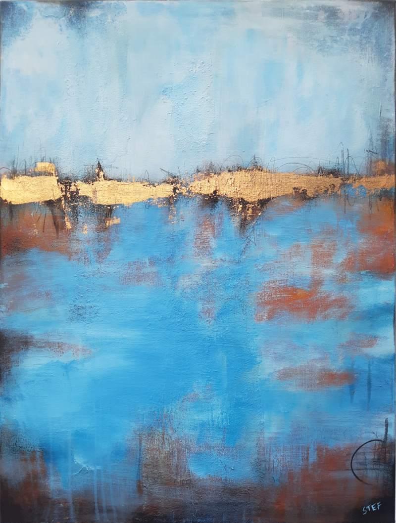 abstraktes Gemälde Blau Gold
