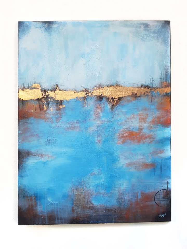 abstraktes Gemälde von Stefanie Rogge Blau Gold