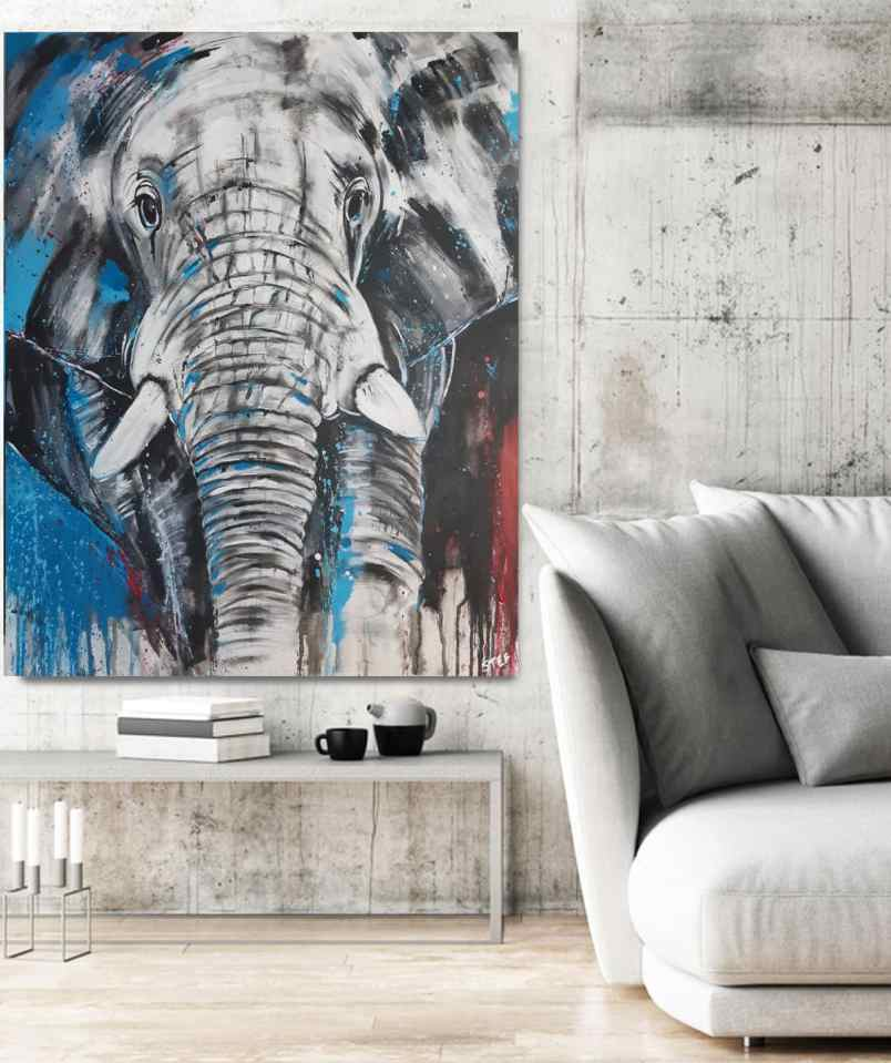 Unikat expressiv von einem Elefantenkopf