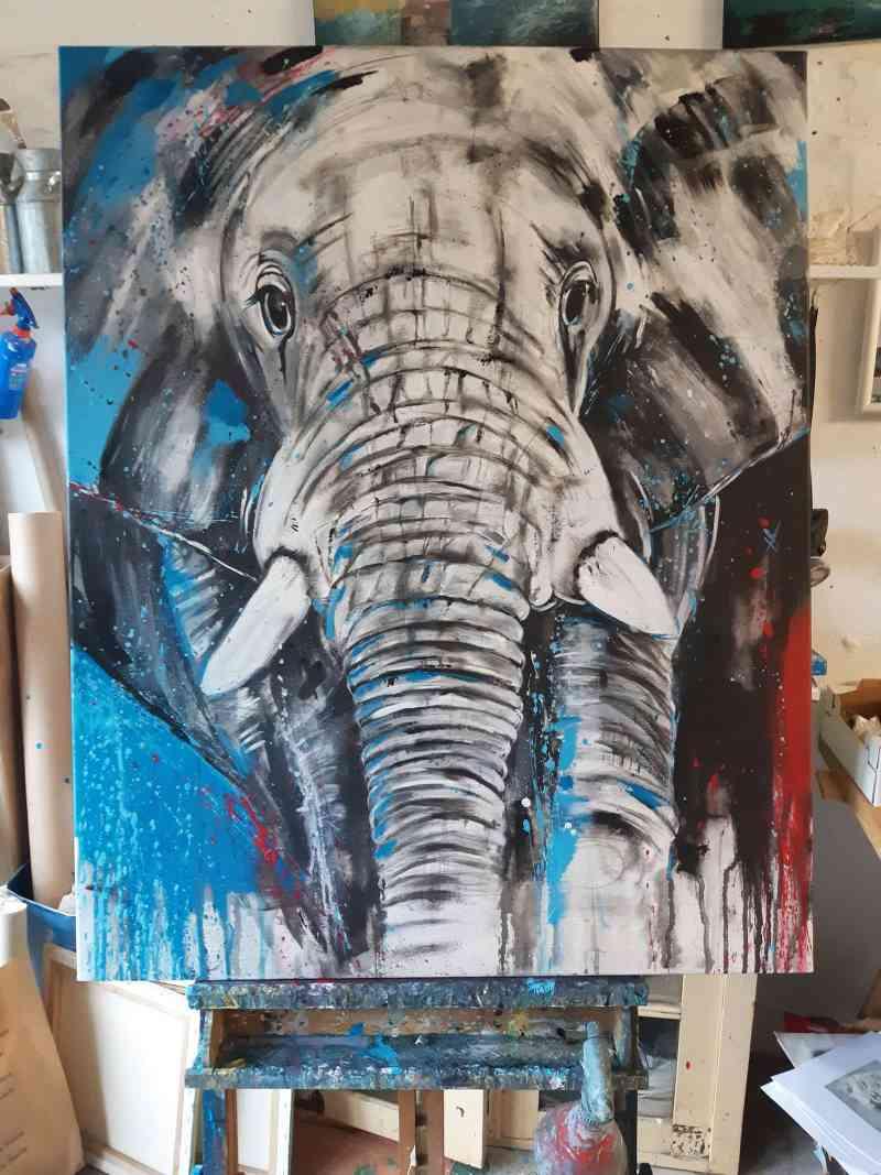 Gemälde Wandbild Elefant