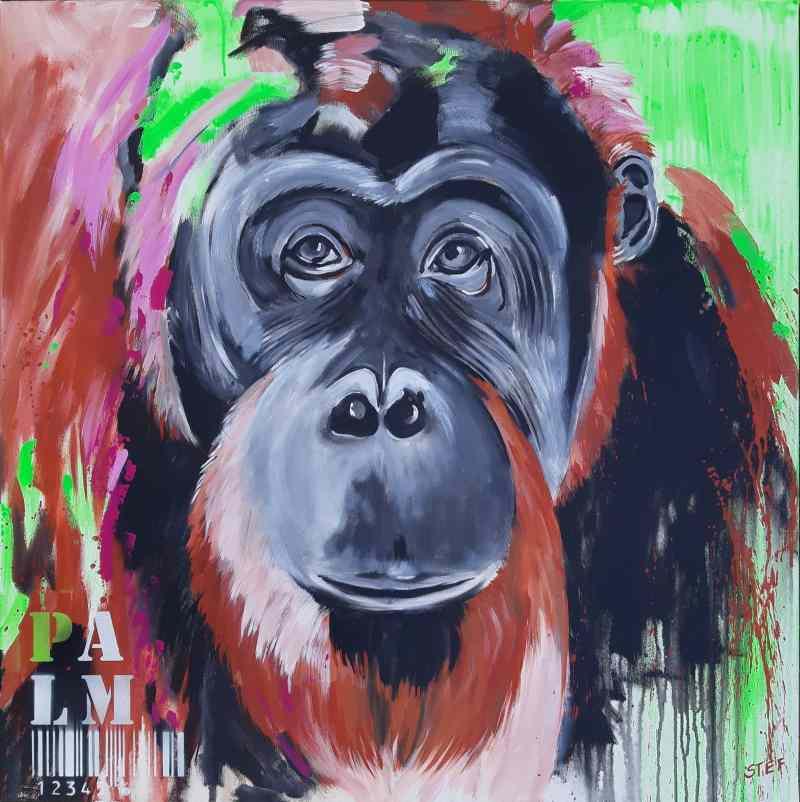 zeitgenössische Malerei von Stefanie Rogge Orang Utan Pop Art