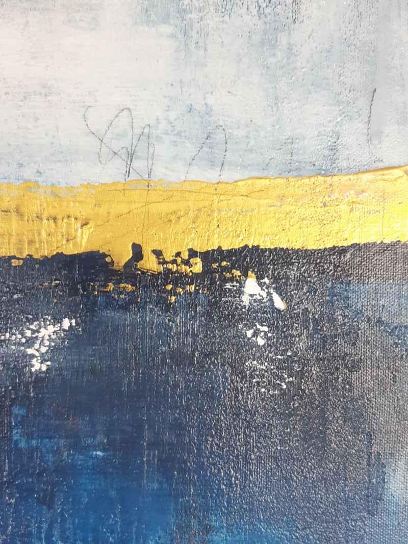 Detail: abstrakte Kunst mit Blau und Gold