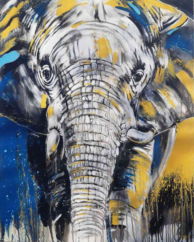 Elefant Bild auf Leinwand, expressives Gemälde von Stefanie Rogge