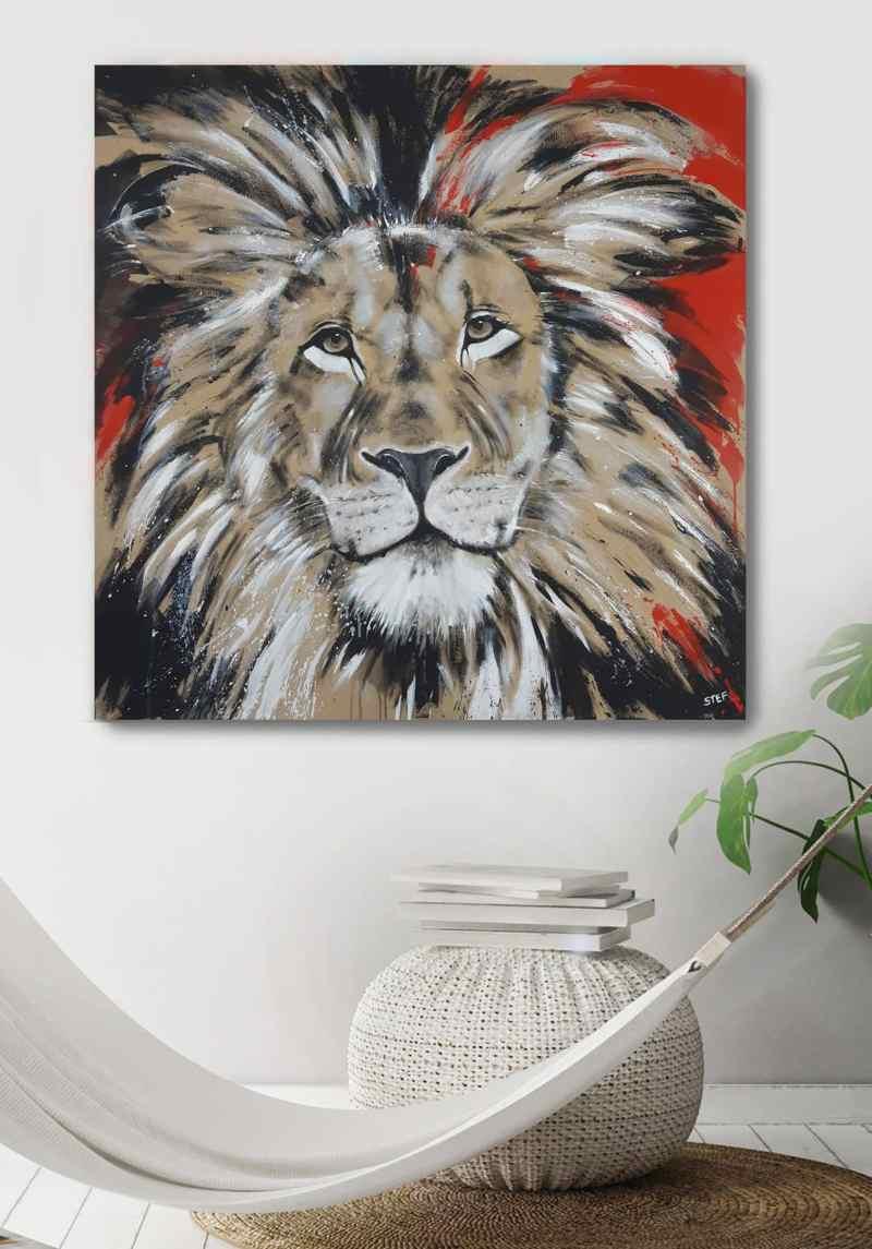 Löwe Gemälde bunt, Original von Stefanie Rogge