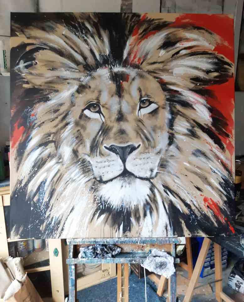 Im Atelier Löwe bunt Gemälde