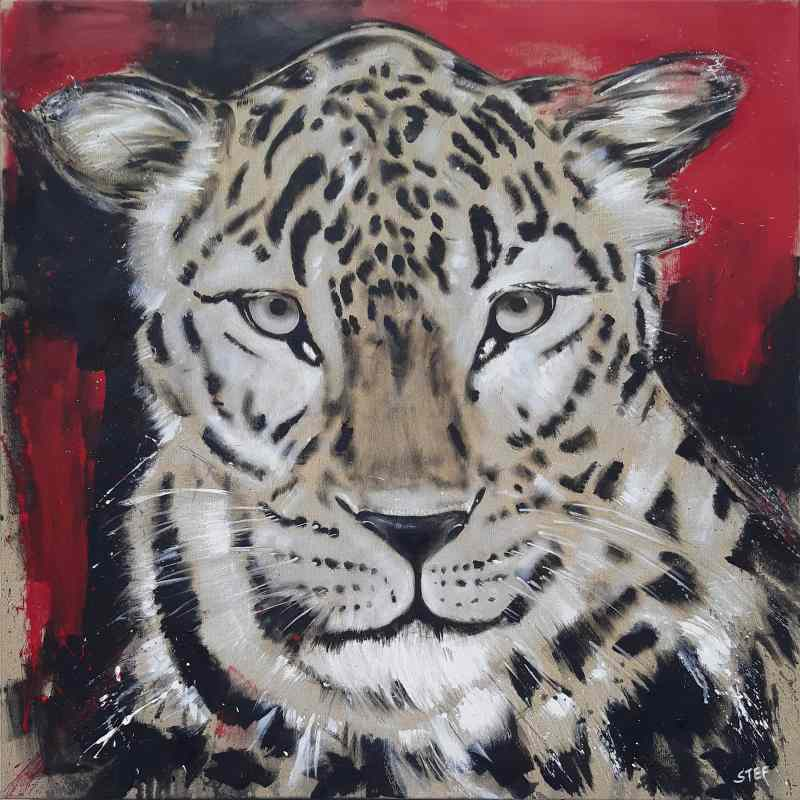Leopard Gemälde von Stefanie Rogge