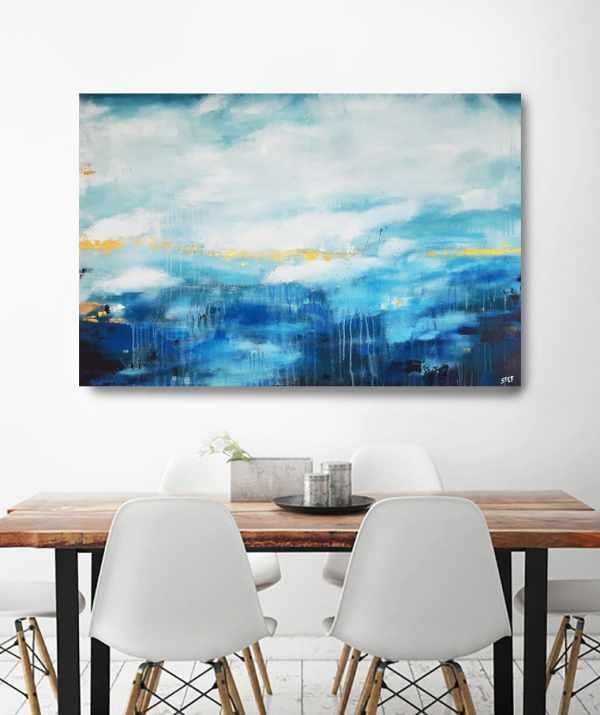 Abstrakte Kunst in Blau und Türkis
