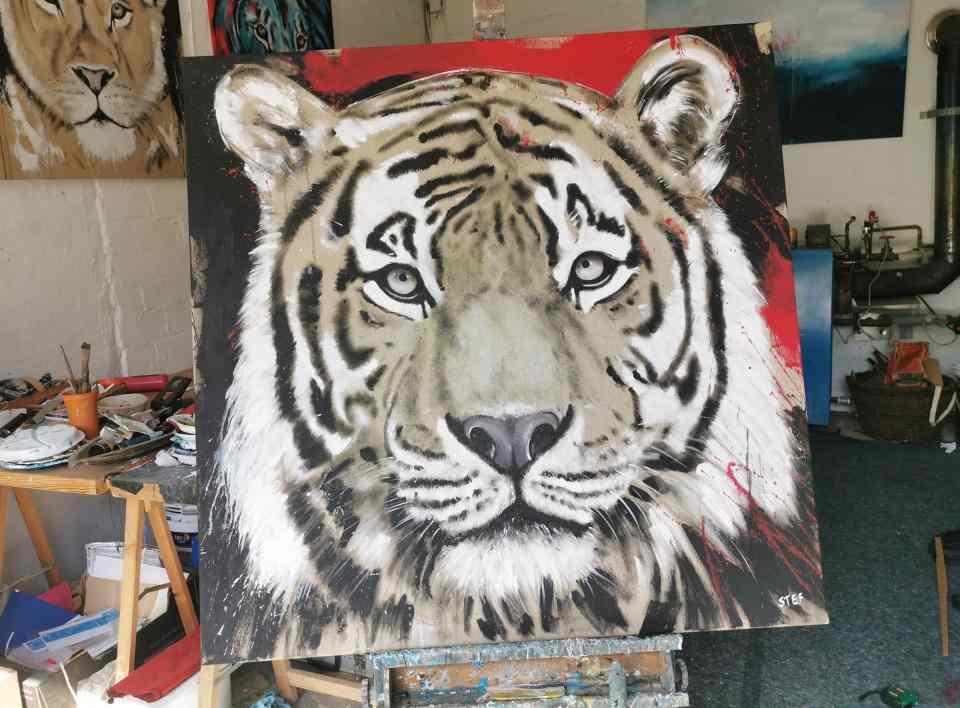 Tiger Kopf Original Gemälde