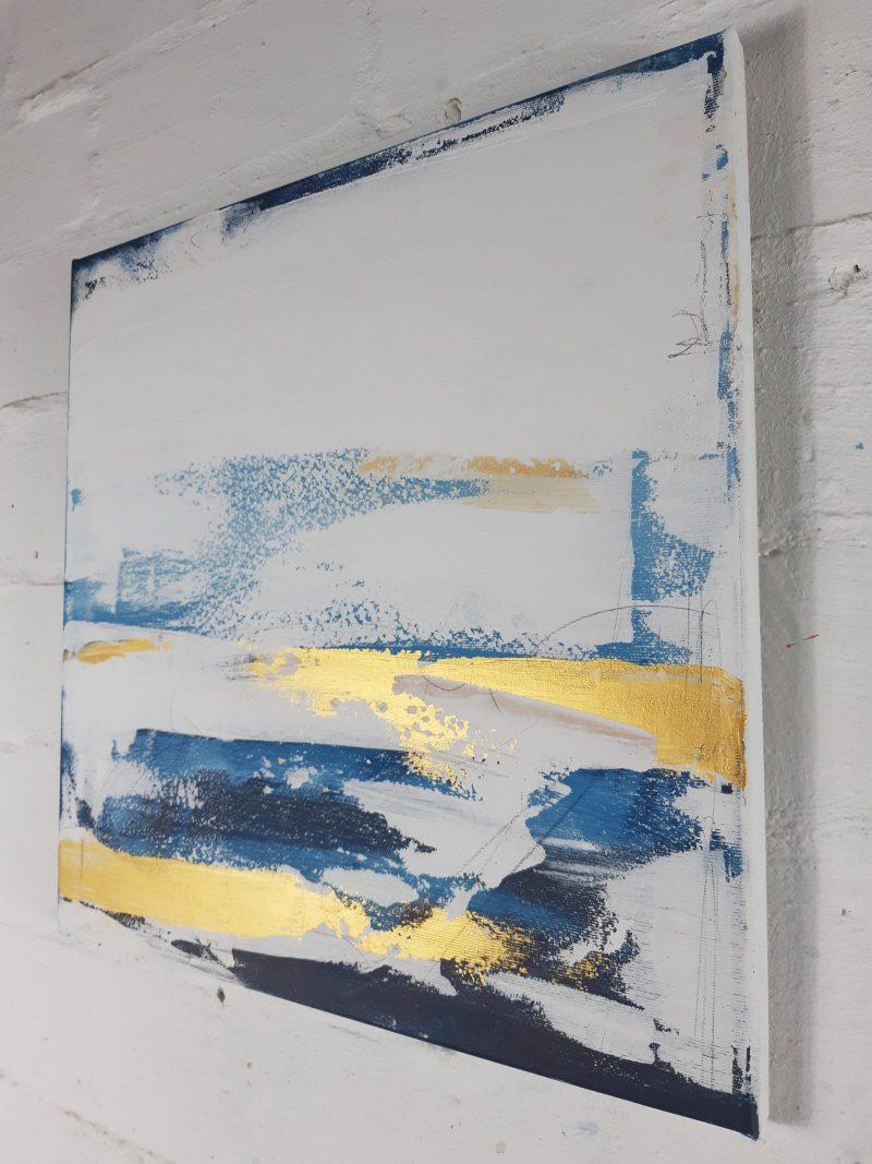 Abstrakte Kunst in Weiß blau
