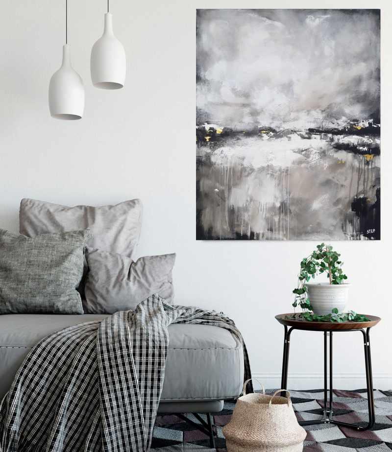 monochromes abstraktes Gemälde