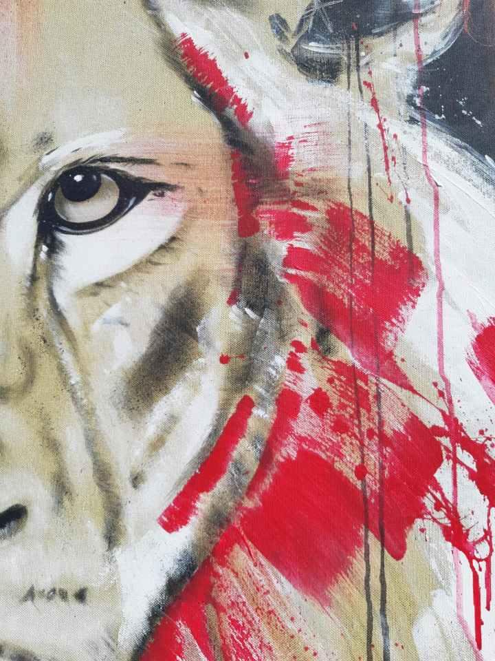 Detail Löwe Malerei