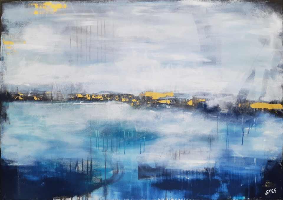 abstraktes Bild in Blau