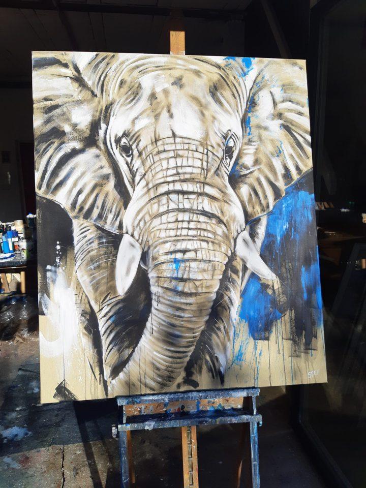 Original Gemälde Elefant blau