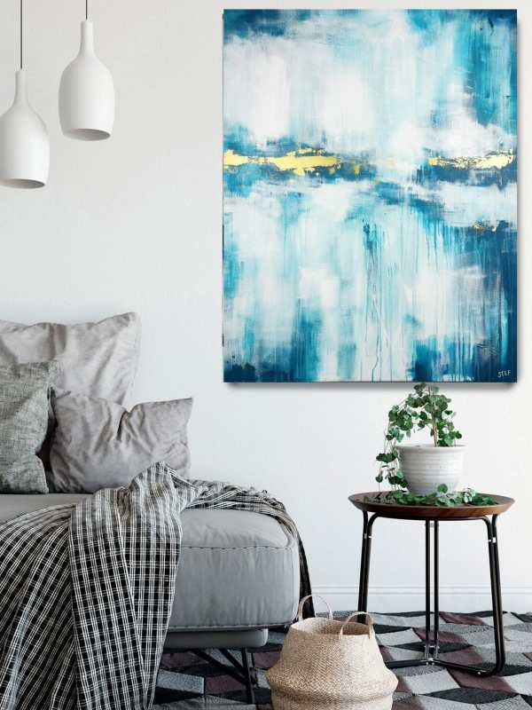 abstraktes modernes Gemälde Türkis