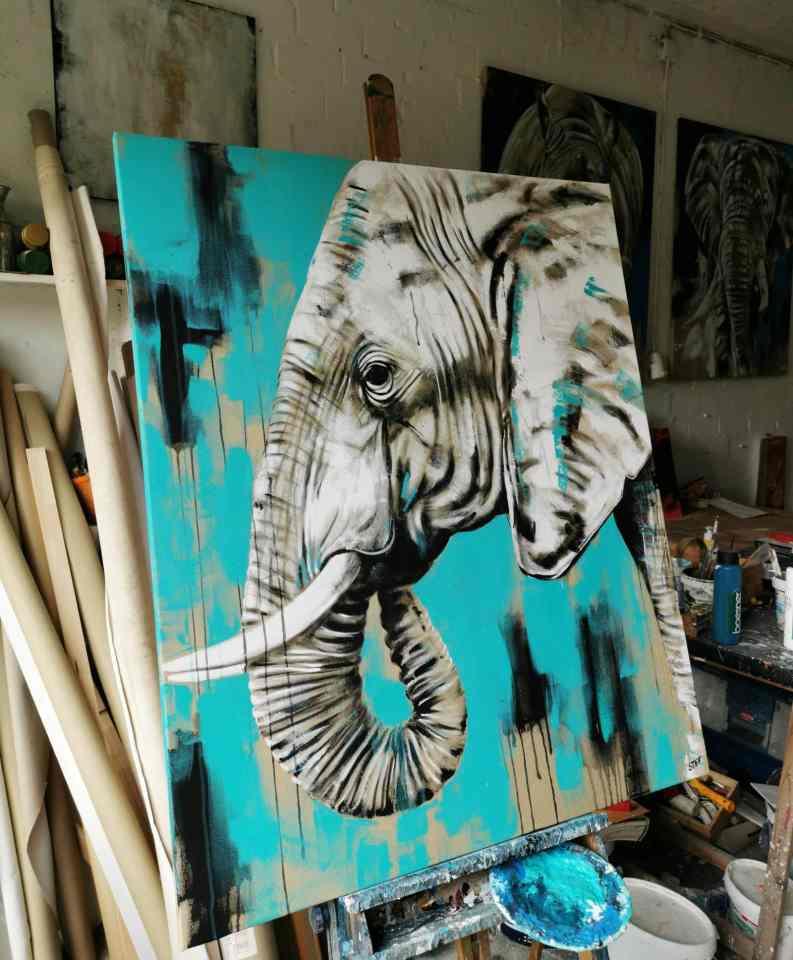 Acrylgemälde im Atelier von Stefanie Rogge