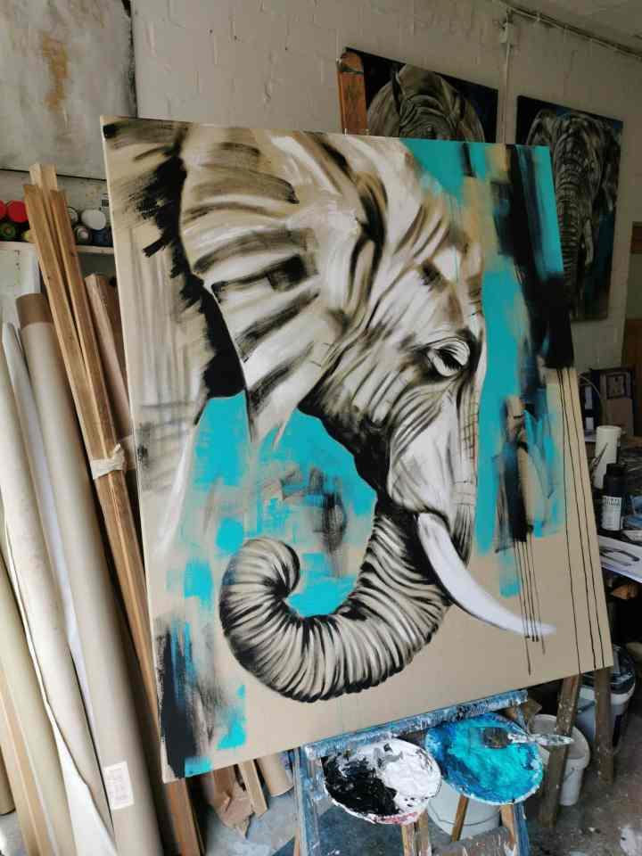 Gemälde Elefant Acryl