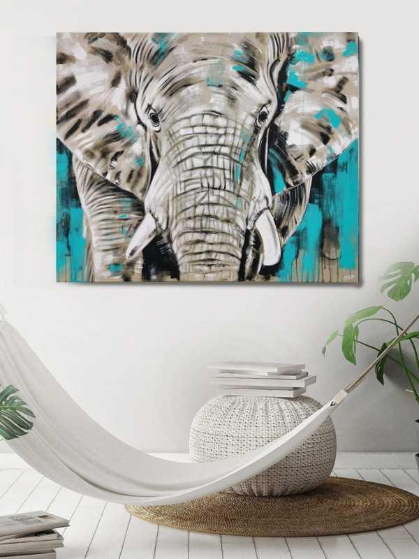 Elefant Leinwandbild groß modern Türkis