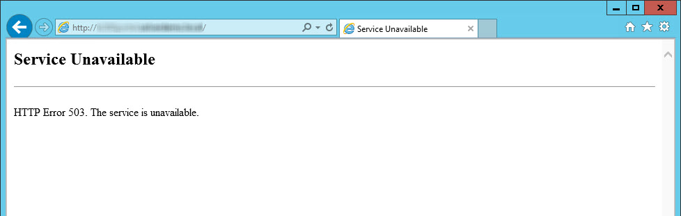 asp net http error 503 the service is unavailable