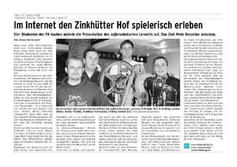 AZ/AN vom 21. Januar 2008: Im Internet der Zinkhütter Hof spielerisch erleben
