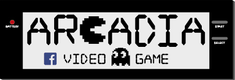 "Logo designed for ""Arcadia"" videogames shop"