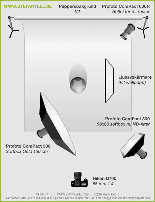Diagram över ljussättning vid porträttfotografering med Profoto Octa och Softbox (Lighting Setup)
