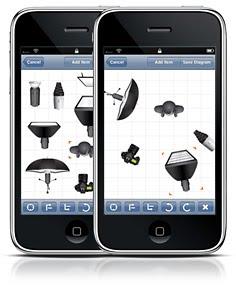 Strobox - en liten app för iPhone om man vill göra diagram över sin ljussättning (Studop lighting diagram setup)