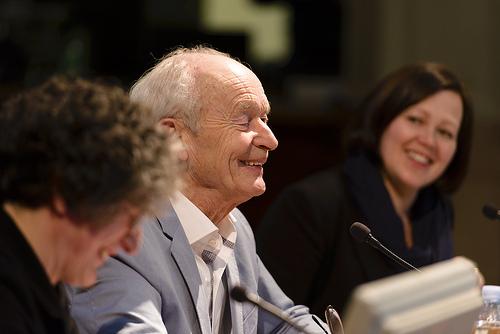 Guus Kuijer och ALMA-jurymedlem Elina Druker. Fotograf Stefan Tell