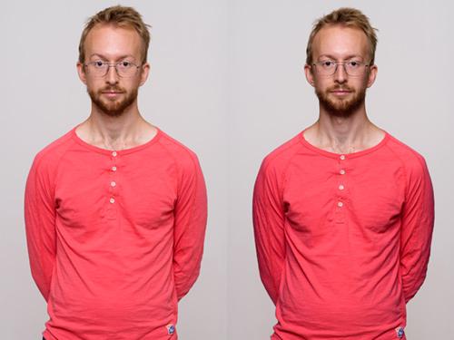 Porträtt med och utan flaggor för mer kontrast i studioporträtt