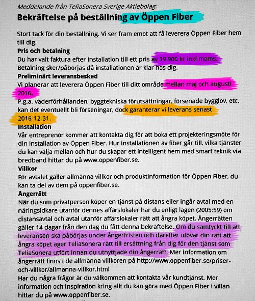Exempel Telia Öppen Fiber kundvård leverans försenad