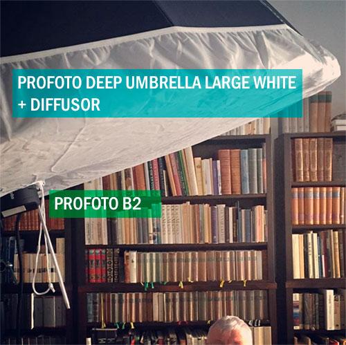 bakom kulisserna BTS porträtt ljussättning hemma inomhus en-blixt-Profoto B2 Deep Umbrella Diffusor
