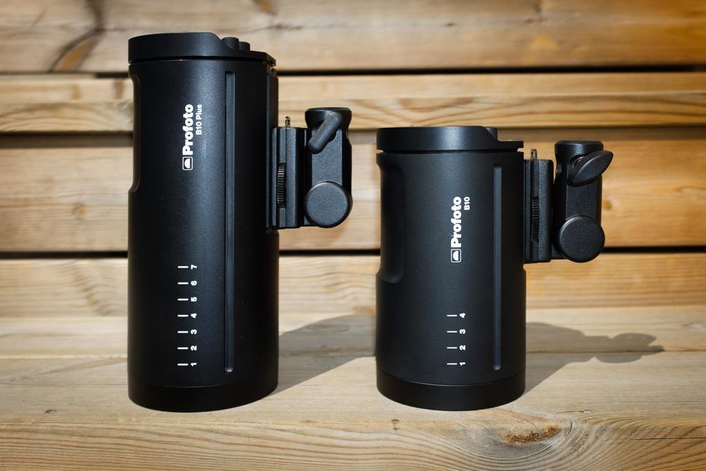 Profoto B10 Plus jämförd med Profoto B10, två batteriblixtar. Fotograf Stefan Tell.