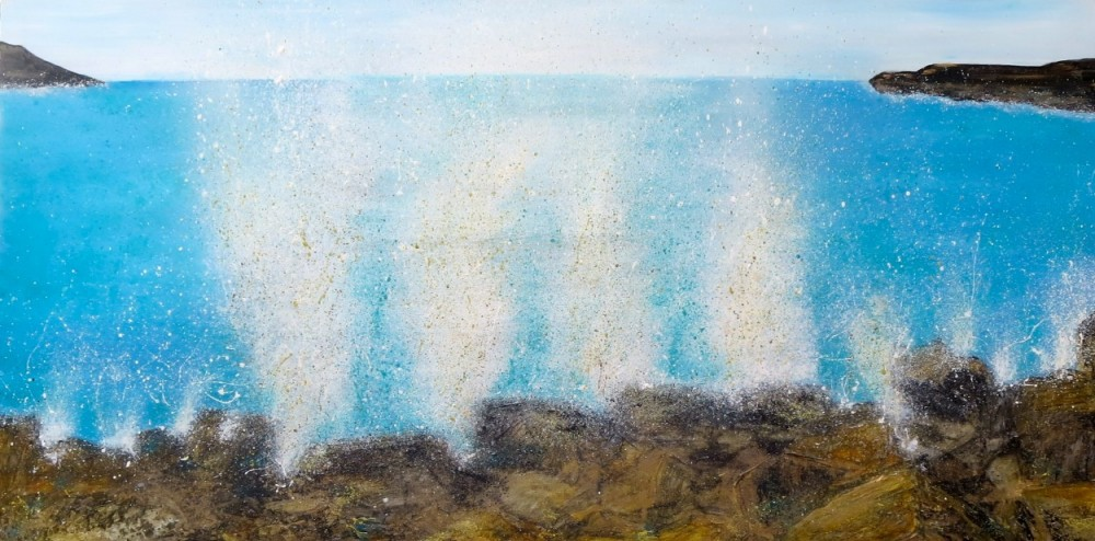 Beach Seascape Art Beach Splash Series - Oil on canvas