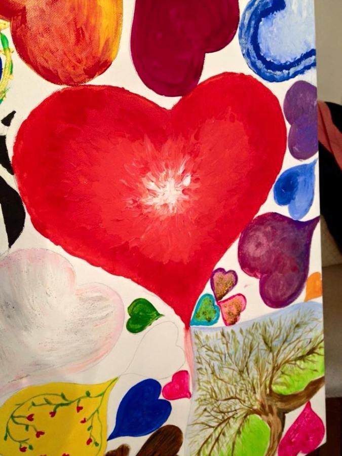 Painted with fingers !! Hearts4Eve Heart Art Appeal