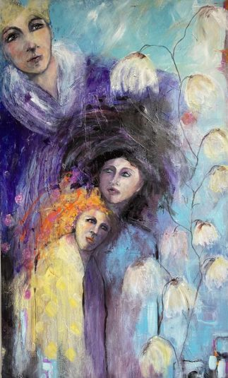 A large whimsical painting - as we care for each other through the generations.