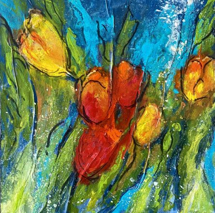 Red Tulips Yellow Tulips Mixed media on canvas 40 x 40 cms £425 plus shipping