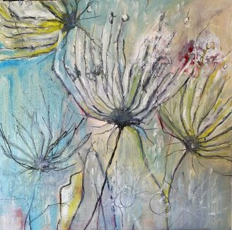 Wild and Dried Oil paints on wooden cradle 60 x 60 cms £375 plus shipping