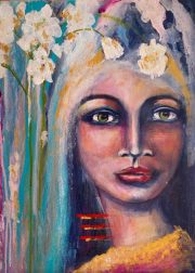 THE GIRL WITH WHITE ORCHIDS - original available