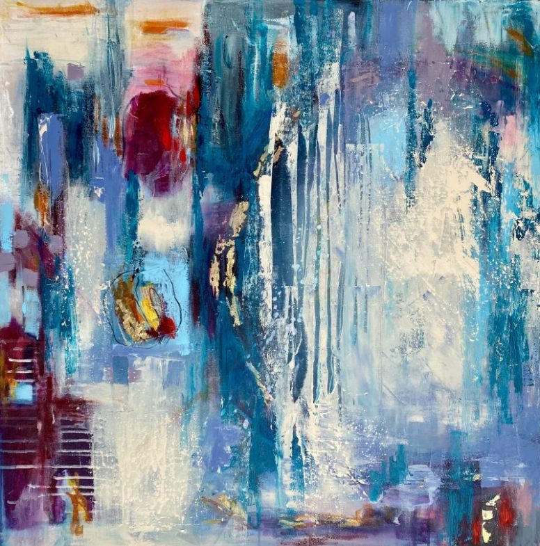 Vibrant multi layered abstract painted as a response to what lies beneath the sea