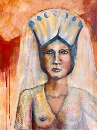 Original Available 'Moon Cycle Goddess' Mixed Media on canvas and framed 50 x 80 cms