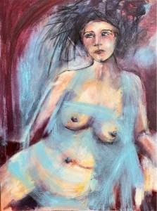 Sensitively painted female nude thinking